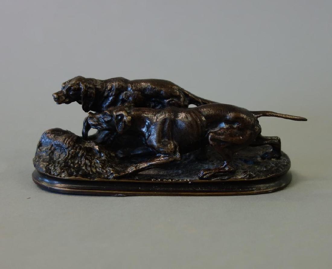 19thc P. J. Mene Bronze Hound Dogs Sculpture