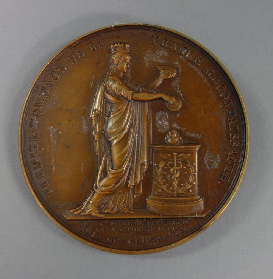 Napoleon Bronze Medallion, Strasbourg, J. P. Droz - 3