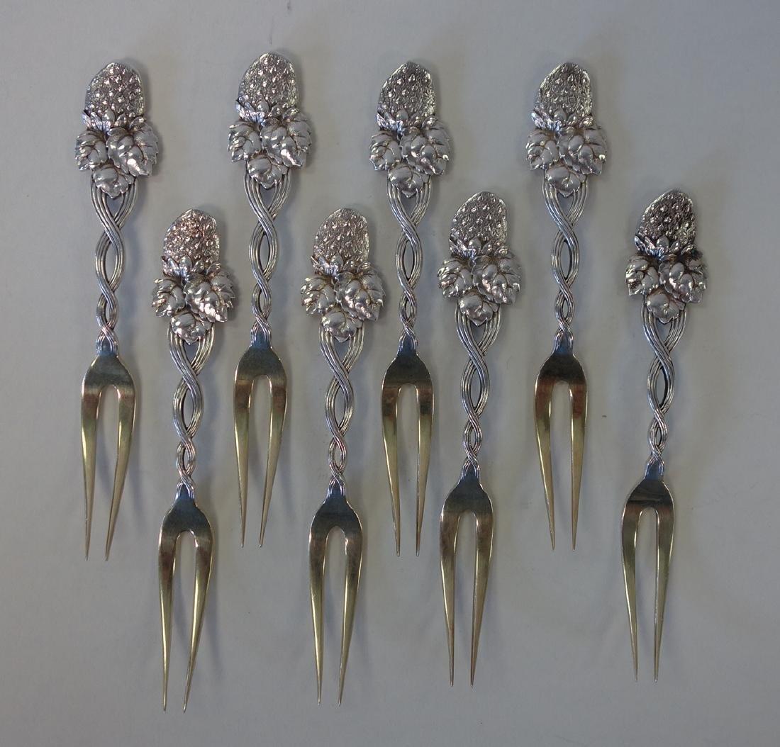 8 Tiffany & Co Sterling Strawberry Pattern Forks