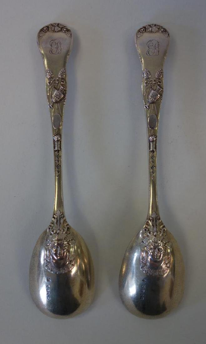 English Sterling Berry Spoons, Mythological Motif - 3
