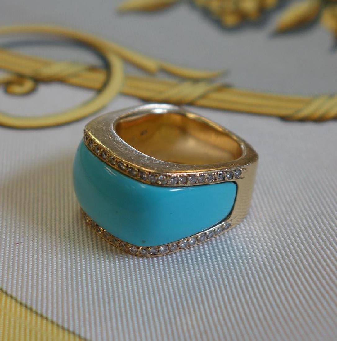 18K Gold Turquoise & Diamond Ring