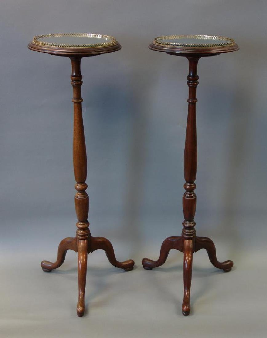 English Mahogany Pedestals, Mirrored Plateau, Pair