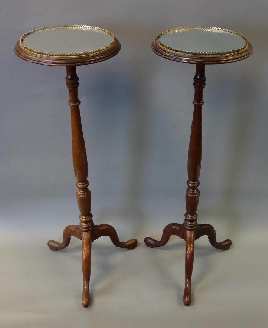 English Mahogany Pedestals, Mirrored Plateau, Pair - 2
