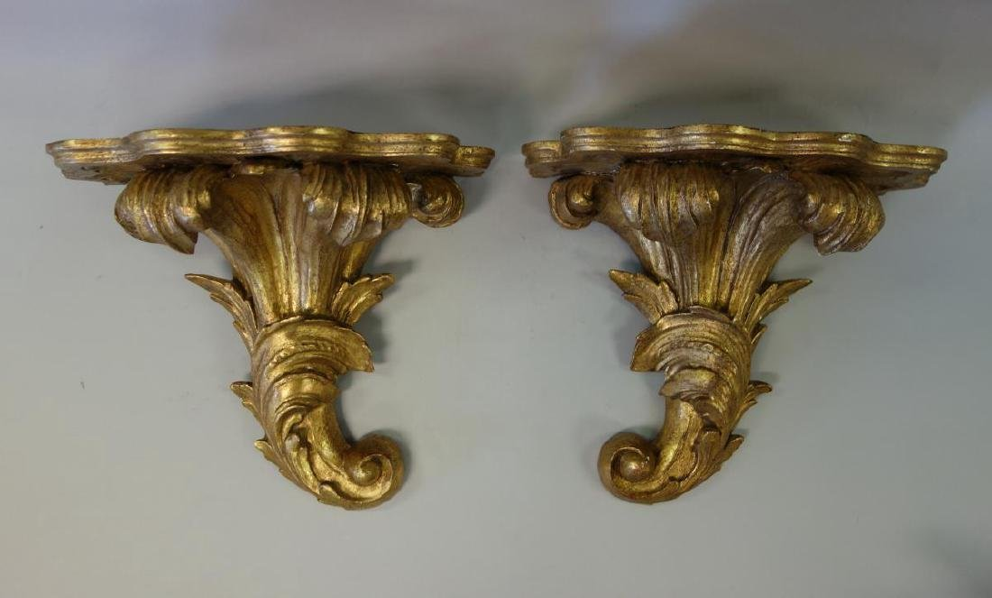 19thc French Gilt Wood Painted Wall Brackets, Pair