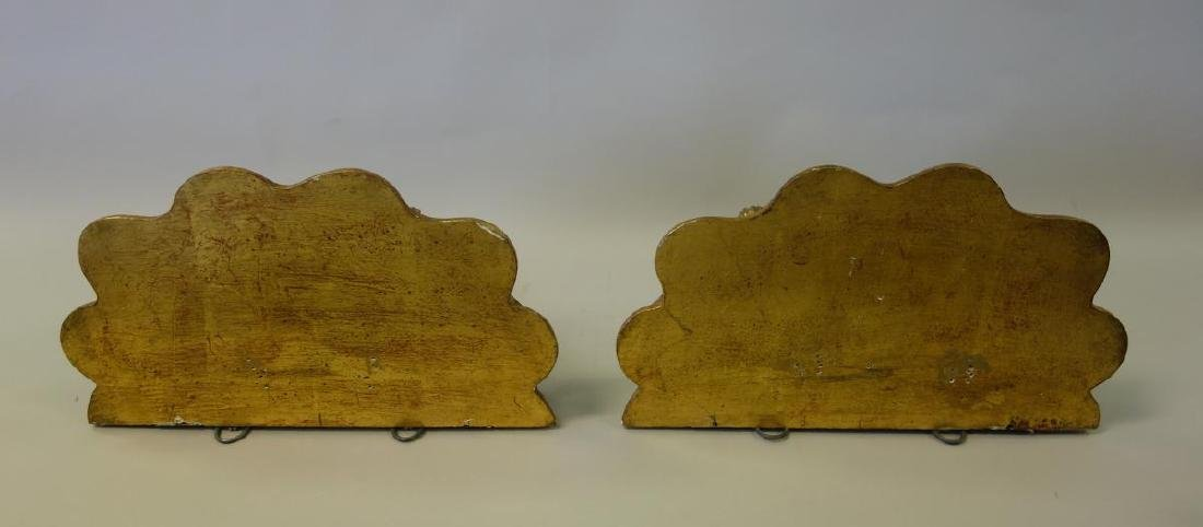 19thc French Gilt Wood Painted Wall Brackets, Pair - 2