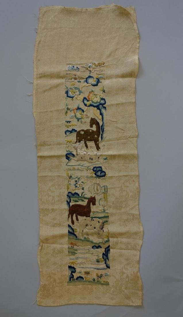Chinese Embroidered Silk Panel, Horse Motif