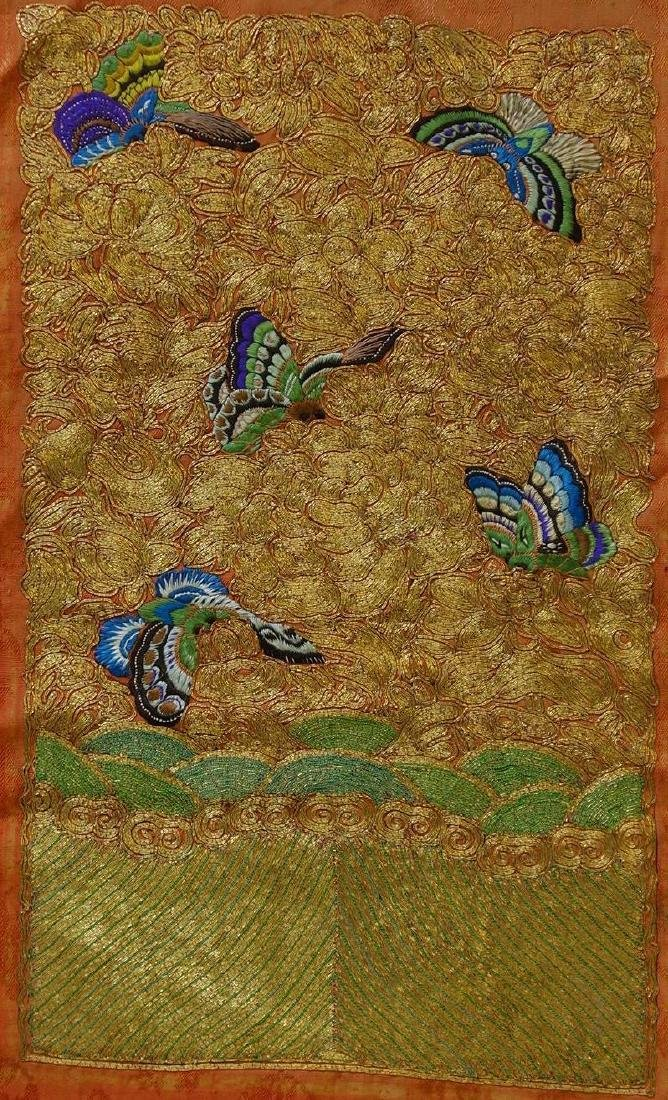 Chinese Embroidered Silk Panel, Butterfly Motif
