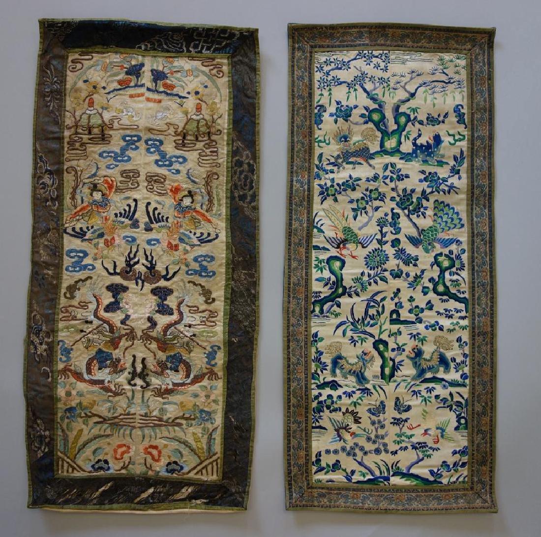2 Chinese Embroidered Silk Panels, Republic Era