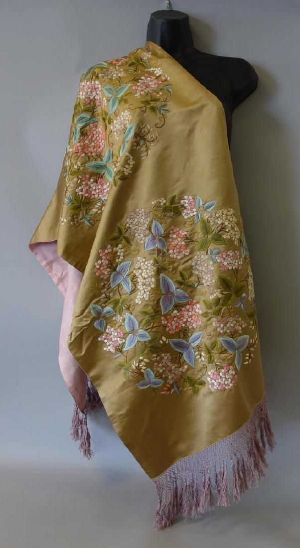 Fine Chinese Embroidered Silk Shawl, Republic Era