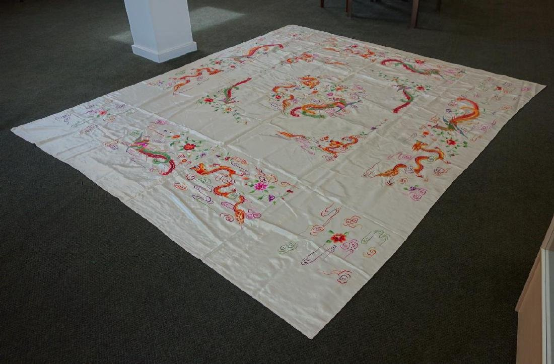 Kwong Chow Embroidered Panel / Bedspread