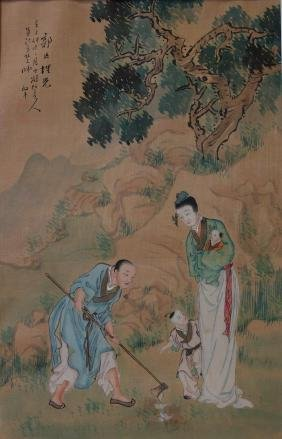 Chinese Scroll Painting, Signed & Sealed, Qing