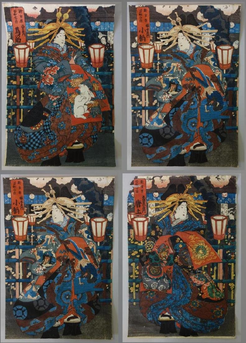 Utagawa Kunisada (1786-1865) 4 Woodblocks