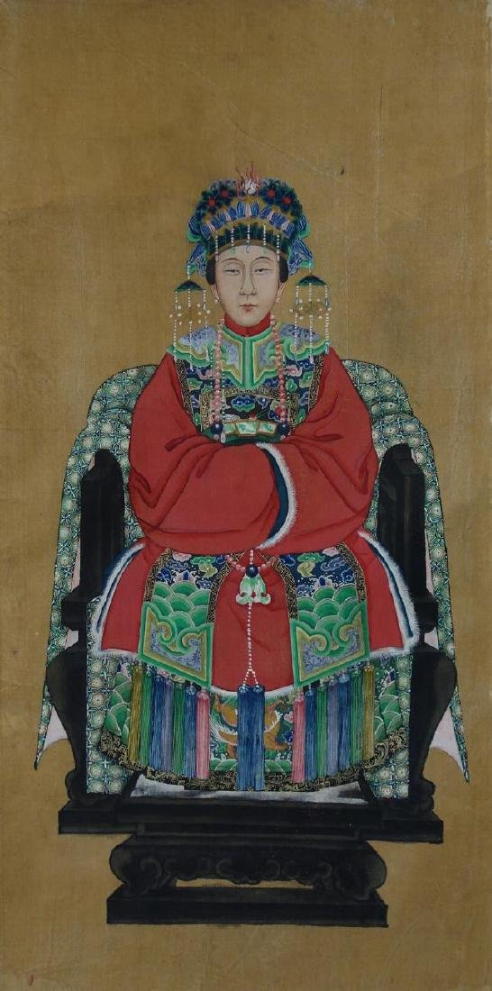 Fine Chinese Ancestor Scroll Painting, Empress