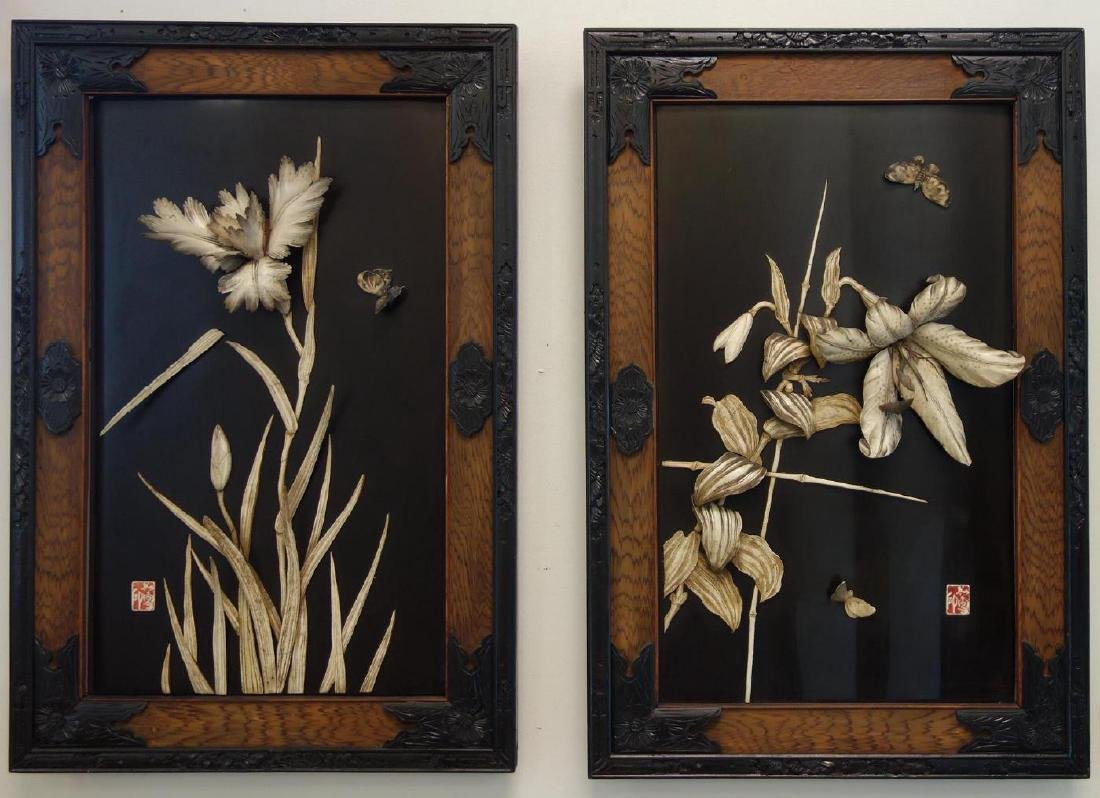 Japanese Carved Floral Pictures, Taisho Era, Signd