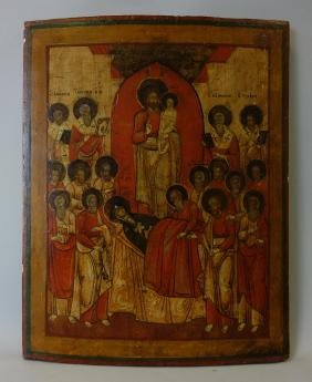 19thc Greek Icon, The Dormition of the Virgin Mary