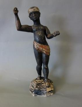 19thc Carved Blackamoor Figure, Polychrome Painted