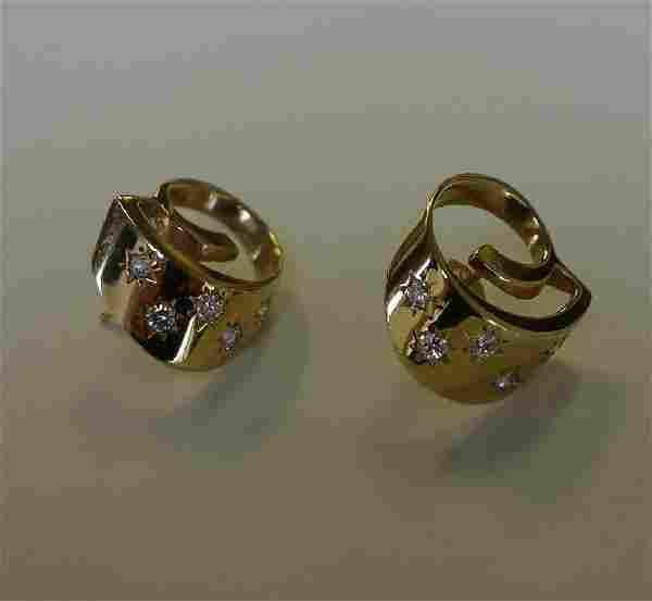 Tiffany & Co 14K Gold & Diamond Modernist Earrings