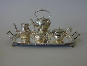 19thc Miniature Sterling Coffee Tea Service, Moore