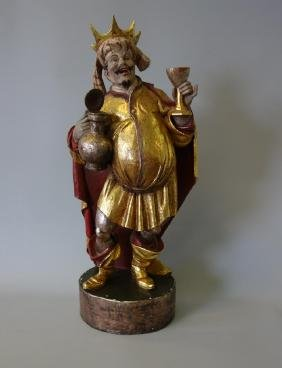 Carved & Polychrome Painted Bacchus the Wine God