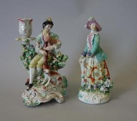 Derby Figural Candlestick & Female Figural Group