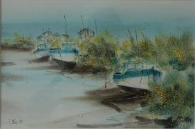 Philippe Merias (France) Harbor Boats, Watercolor