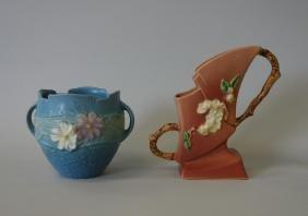 Roseville Vases, Blue Cosmos & Apple Blossom