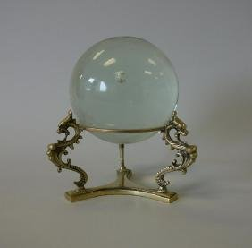 Glass Crystal Ball / Sphere with Griffin Stand