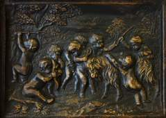 19thc Carved Wood Allegorical Putti Scene