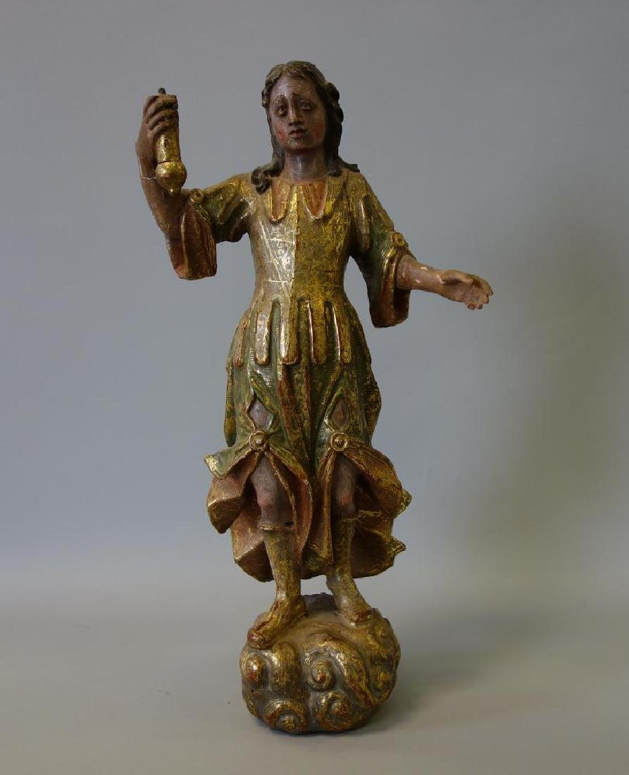 17thc Carved Wood Herald Figure, Joan of Arc