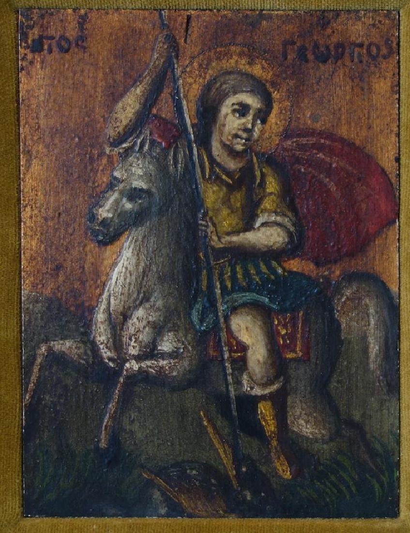 18thc Greek Icon, St George on Horseback