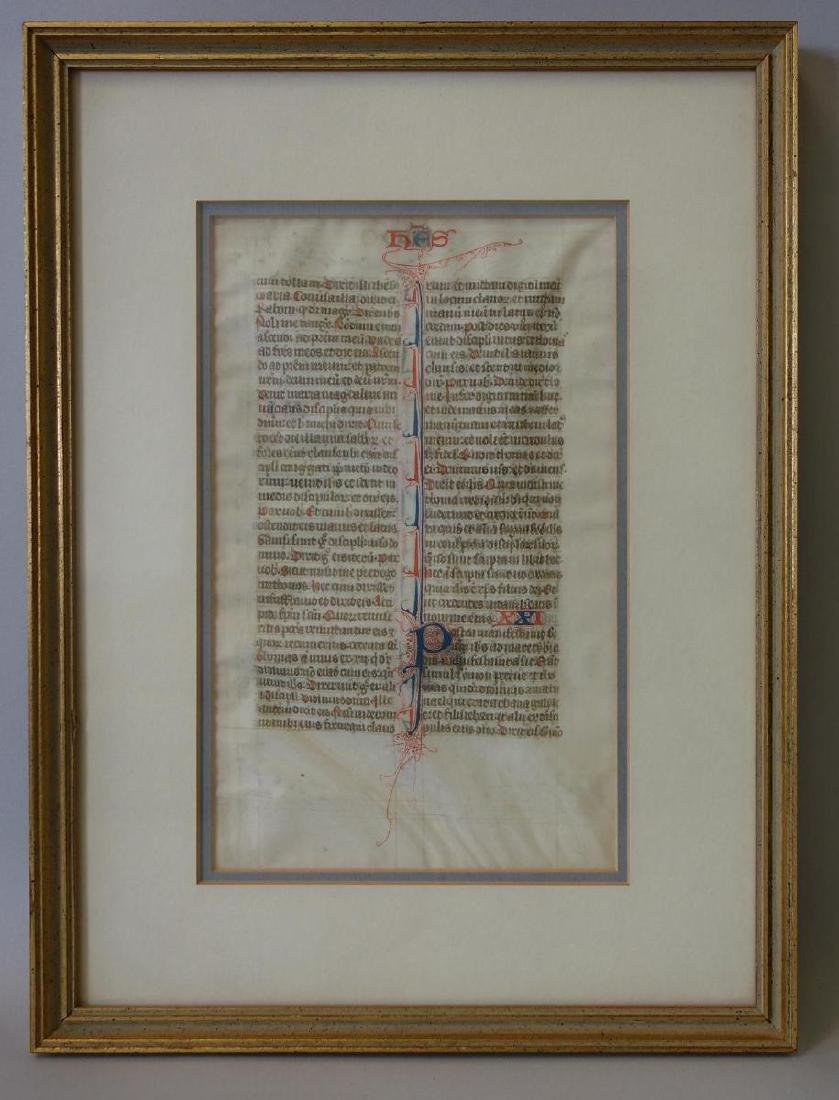 Antique Illuminated Bible Manuscript, c.13thc.