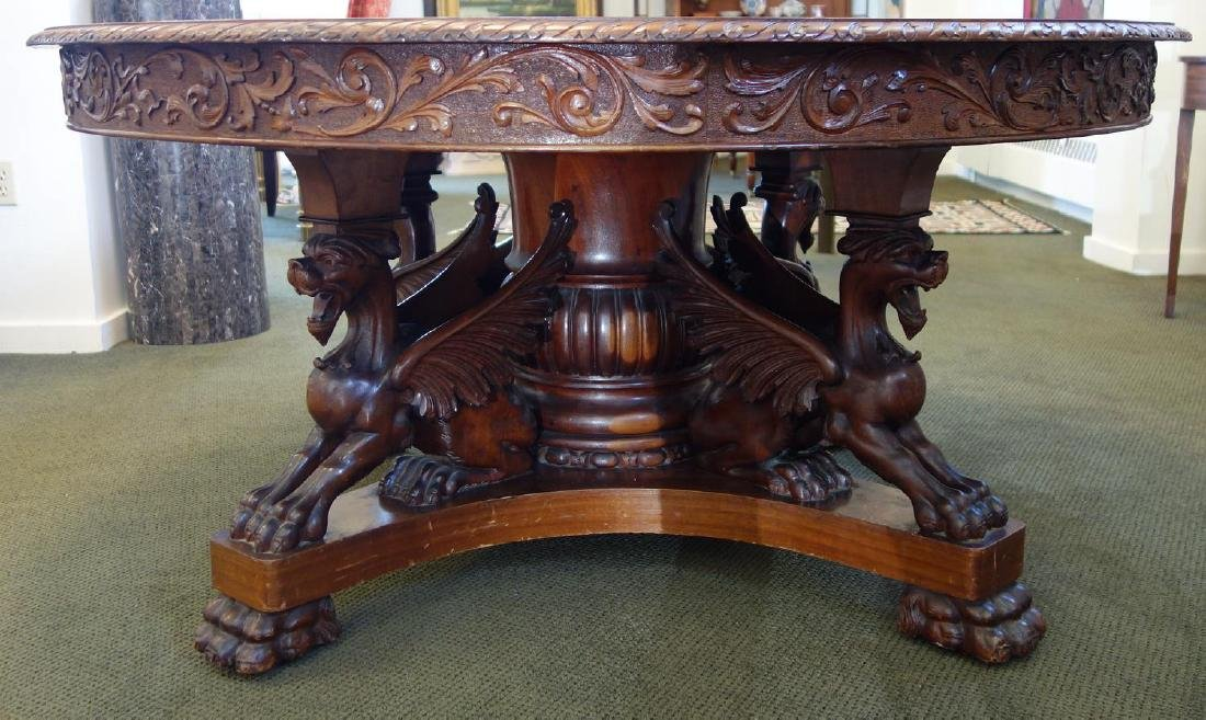 R J Horner Winged Griffin Dining Table C 1880s