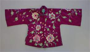 Chinese Embroidered Silk Jacket, Floral Motif