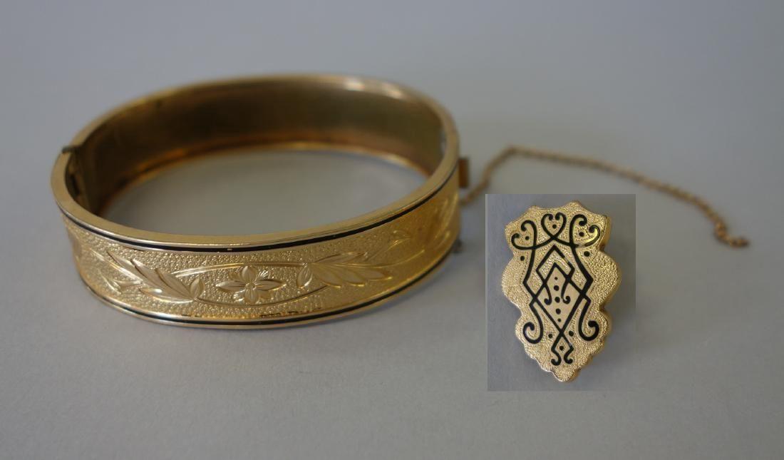 Victorian Gold & Black Enamel Bracelet & Pin