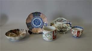 19thc Japanese Imari Dishes, Cups, Brush Pot +