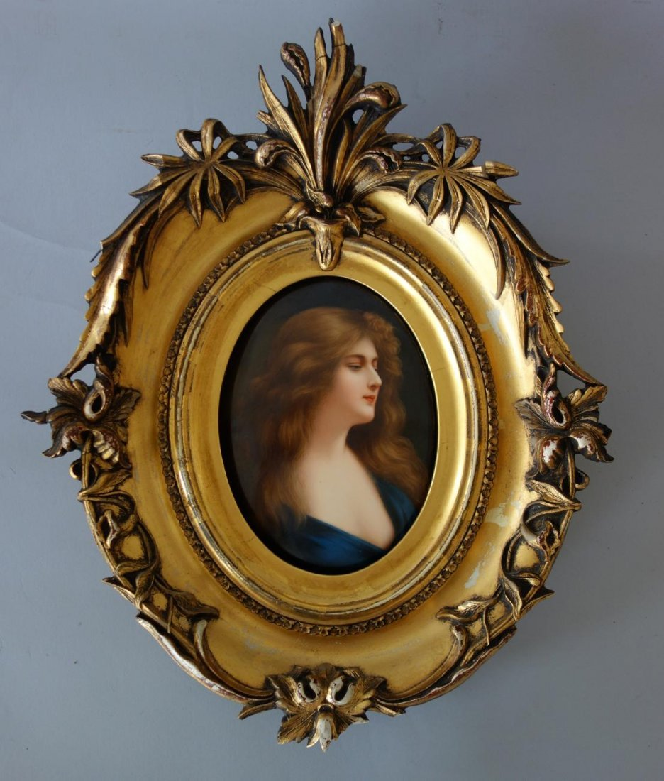 19thc KPM Porcelain Plaque by Wagner, Reflection