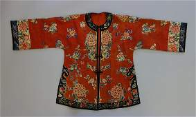 Chinese Embroidered Silk Jacket / Robe, Florals
