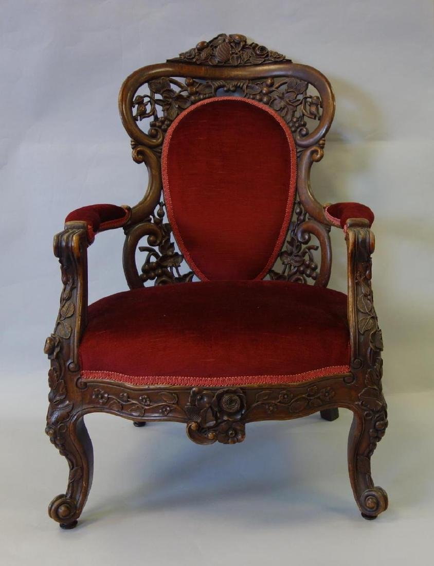 Belter Rococo Carved Rosewood Arm Chair