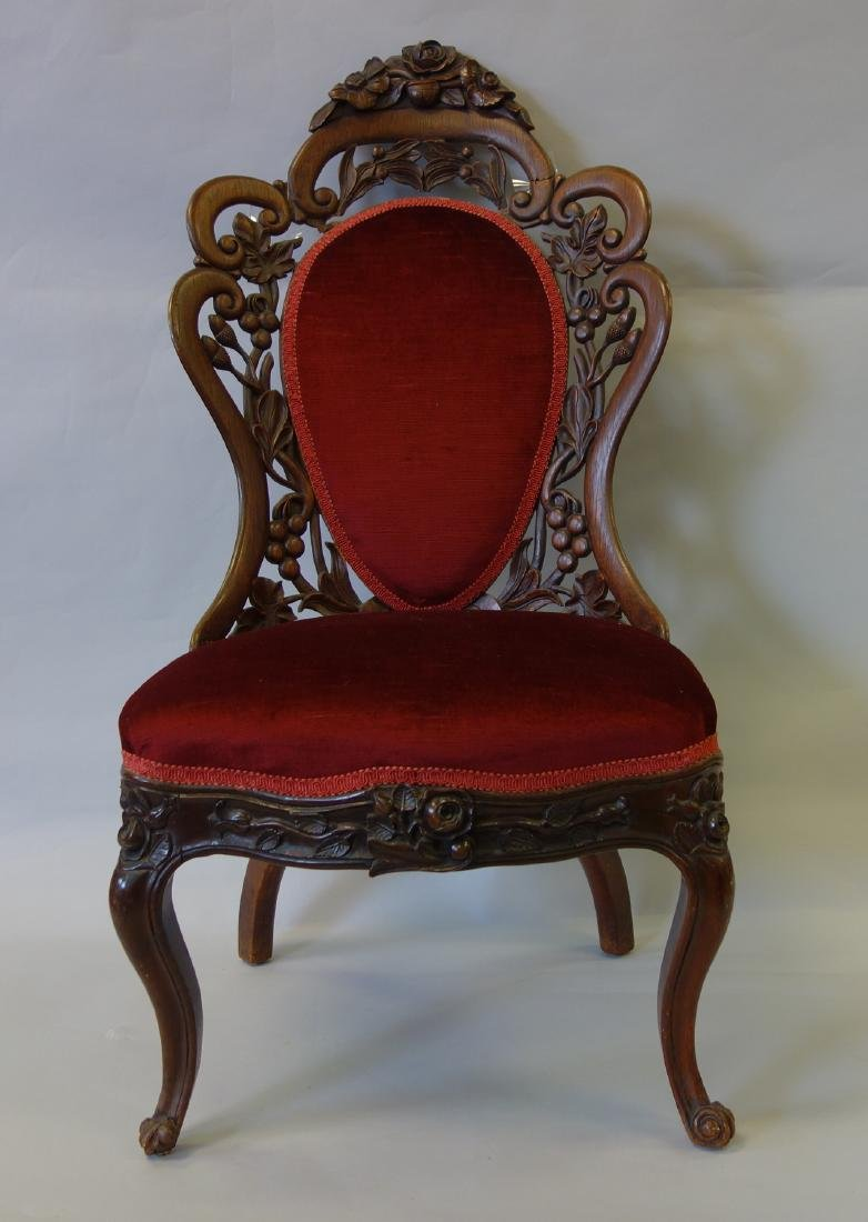 Rococo Carved Rosewood Side Chair
