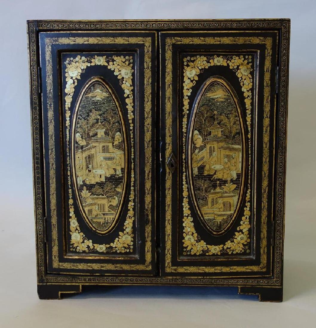 Fine Chinese Lacquer U0026 Gilt Table Top Cabinet