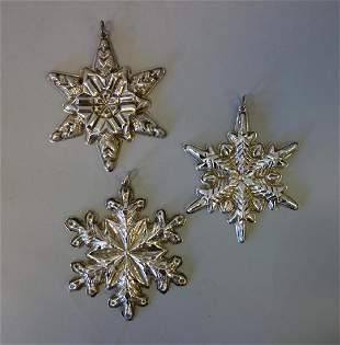 3 Gorham Sterling Christmas Snowflake Ornaments