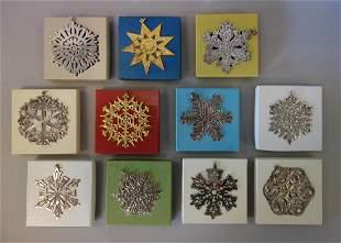 11 Sterling Christmas Snowflake Ornaments, MMA