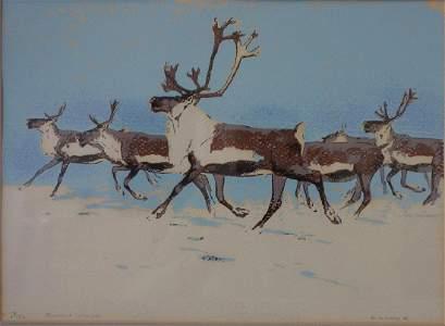 William D. Berry (1926-1979) Running Caribou