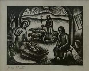 Nativity Scene Woodcut, Jupp Winter (France 20thc)