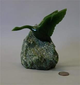 Lyle Sopel (b-1951) Carved Jade, Goose in Flight