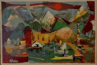 Vintage Abstract Monotype, Anchorage, Alaska