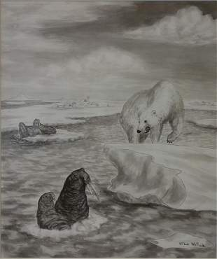 Wilbur Walluk (1928-1968) Polar Bear Hunting