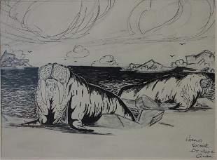 Harold Koonuk (20thc Alaska) Pen & Ink Drawing