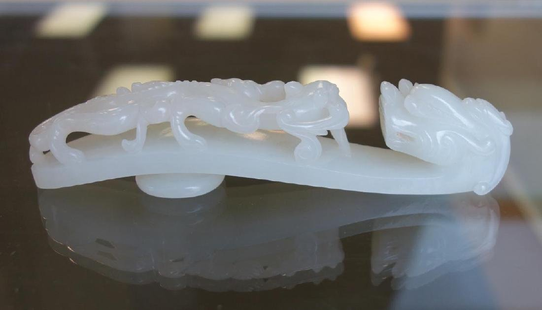 Large Chinese Carved White Jade Belt Hook