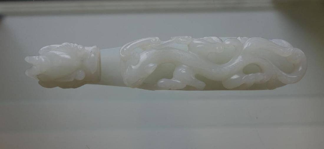 Large Chinese Carved White Jade Belt Hook - 2